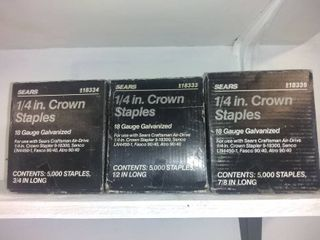 lot Of 3 Boxes Of 1 4 In Crown Staples In Different lengths