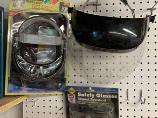 lot of Face Shields and Safety Goggles