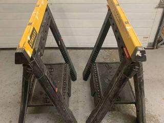 Pair of Stanley Adjustable Sawhorses location Storage