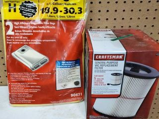 lot of 2 Filters  1 Craftsman Wed Dry Vac  and 1 Shop Vac