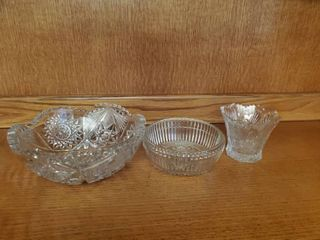 lot of 3 Dishes Including Crystal