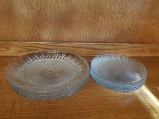 Set of 5 Diamond Cut Crystal Plates and 6 Swiral Pattern Glass Salad Plates