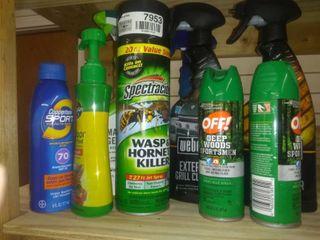 lot Of Various Outdoor Essentials Weed Killer  Bug Repellent Etc