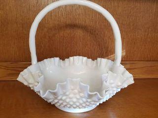 Vintage Fenton HOBNAIl White GlASS Ruffle BASKET 11 1 2a X 11a