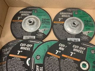 Two Warrior 7 Inch Grinding Wheels and Five 7 Inch Cut Off Wheels location Storage