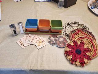 Kitchen Accessories lot   Trivets   Hallmark Dip Bowls  Coasters  and Salt   Pepper