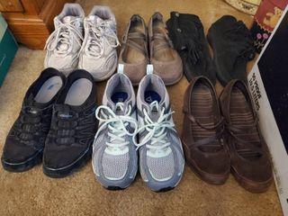 Size 7 5 lot of 6 Womans Fitness Shoes   Sketchers  Reebok  Black Moccasins