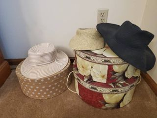 3 Decorative Hat Boxes with 3 Fun Summer Hats