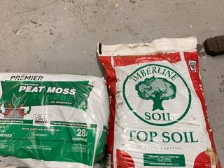 1 cu ft Sphagnum Peat Moss and 40 lb Bag of Topsoil location Storage