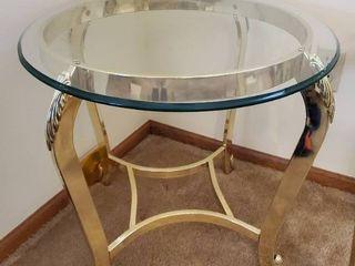 Glass Top Elegant Gold Tone Base End Table