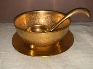 Pickard Etched China Condiment Dish Plate and ladle location Dining Room