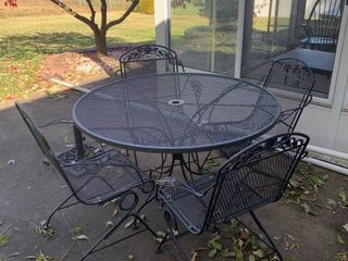 Beautiful Vintage Wrought Iron Patio Table and 4 Chairs