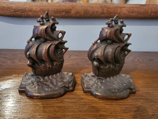 Bronze Ship Bookends  Titled A Galleon The Time of Elizabeth
