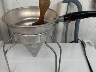 Vintage Wear Ever Aluminum No  475 Cone Strainer and Stand With Wood Pestle location laundry Room