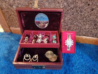 Burgundy Jewelry Box with Holiday Snowflake and 8 Pairs of Costume Earrings