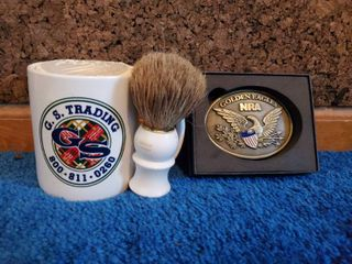NRA Beltbuckle and G S Trading Shaving etc