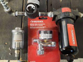 Husky Spray Gun Adjusting Valve with Gauge and Husky Air Regulator with Male and Female Ends