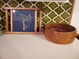 Tile Trivet   Cutting Board with Wooden Salad Bowl