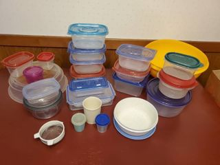 lot of Tupperware and Reusable Containers