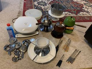 Mini Mega lot Of Various Kitchen Items Foreman Grill  Multiple Fondue Pots With Accessories Etc