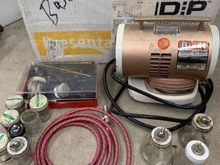 Binks Airbrush Compressor location Under Basement Workbench
