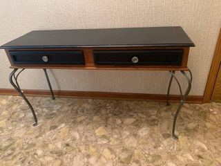 2 Drawer Upcycled Wooden Entry Table   Iron legs