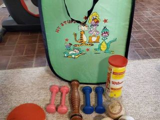 lot of Weights  Balls and Kids laundry Basket