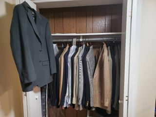 Closet Full of High End Mens Suit Jackets Sizes 42 46R