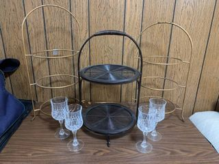 Small lot Of Kitchen Items 4 Crystal Glasses And 3 Pie Or Cake Racks