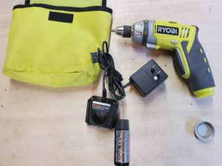 Ryobi Tek 4   Battery Operated Drill Tested and Working  Includes Traveling Case
