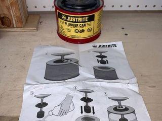 Justrite Plunger Can location Basement Workbench