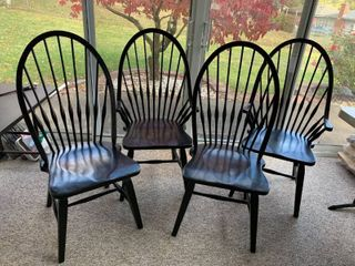 4   Black  lightly Distressed  Solid Wood Chairs   2 Captains Chairs