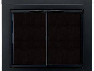 Pleasant Hearth AN 1010 Alpine Fireplace Glass Door  Black  Small