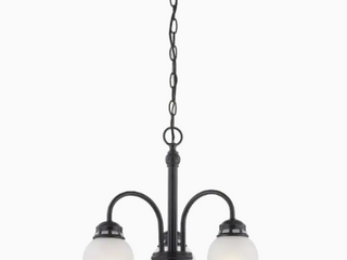 Project Source Fallsbrook 3 light Oil rubbed Bronze Glass Shaded Chandelier
