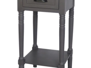 Missing Bottom Shelf Eryn Accent End Table   Konocosta Hardwood Traditional Stand   Gray Wash Fr6318
