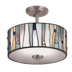 Portfolio 13 in W Brushed Nickel Clear Glass Tiffany Style Semi Flush Mount light