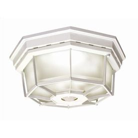 Missing Hardware  Secure Home 11 9 in W White Motion Activated Outdoor Flush Mount light