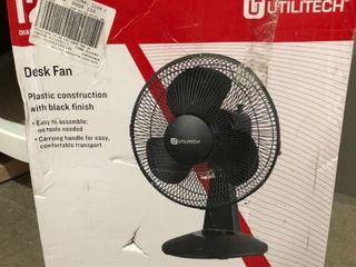 Utilitech 12  Desk Fan Plastic Construction w Black Finish