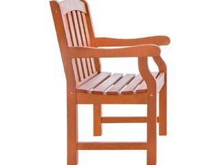 VIFAH V211 Outdoor Wood Arm Chair  Natural Wood Finish  25 by 24 by 36 Inch