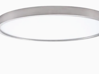 Project Source Flushmount Ceiling Fixture lED Brushed Nicole Finish White Plastic lens 15 x15 x1