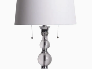 Allen Roth Table lamp Crystal and Chrome Finish White Faux linen ShadeDouble Pull lighting