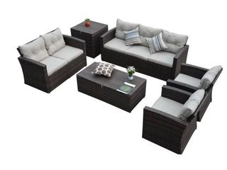 Rio  6 Piece 7 Seat Dark Dark Brown All Weather Wicker Conversation Set With Storage and Tan Color Cushions