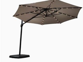 Simply Shade   11Ft lED lighted Cantilever Umbrella   Octagon Shade   Greige   Base Included