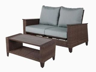 Allen   Roth Wylie Cove love Seat and Coffee Table Bronze Finish