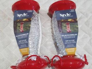 lED StyleSelections Solar Powered Bird Feeder  lot of 2