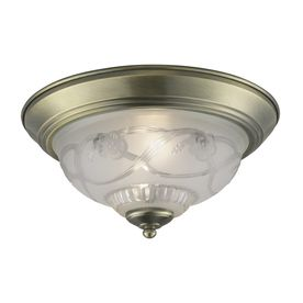 Cracked Project Source 11 4 in W Antique Brass Ceiling Flush Mount