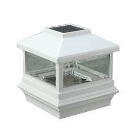 Maine Ornamental White Glass and Plastic Solar Post Cap light  Common 5 in x 5 in  Actual  5 in x 5 in