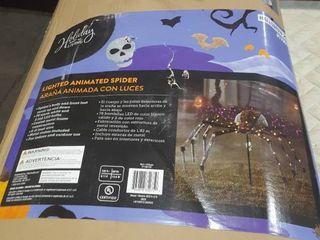 Giant Spider Halloween Decor Creepy Crawler Porch Decoration led light Eyes 48