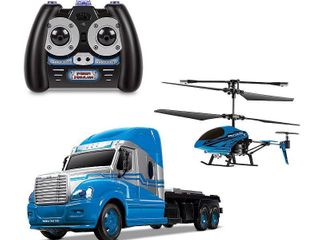 World Tech Toys MegaHauler Helicopter  amp  Remote Control Truck Set  Blue