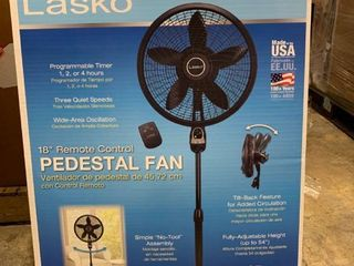 lasko 18  Cyclone Pedestal Fan with Remote Control in Black
